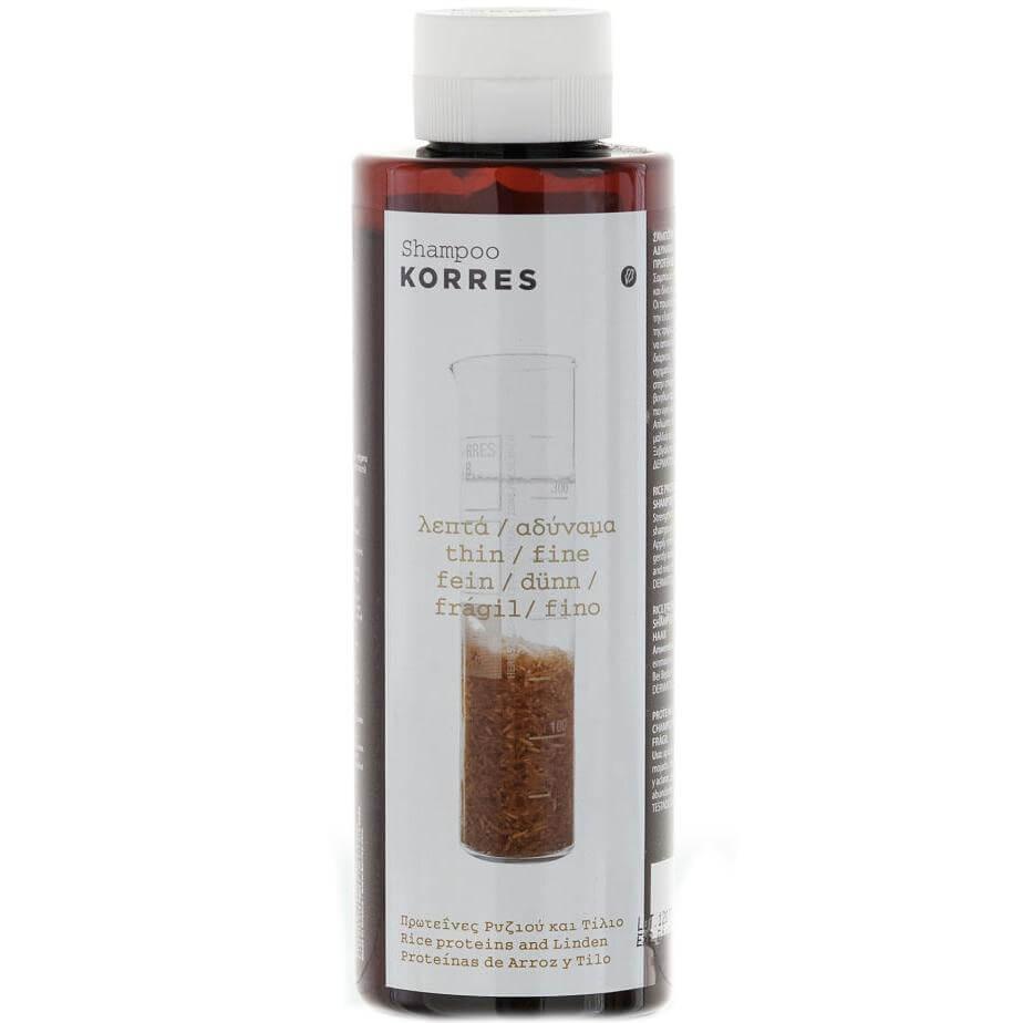 Korres Σαμπουάν Πρωτείνες Ρυζιού & Τίλιο για Λεπτά/Αδύναμα Μαλλιά 250ml