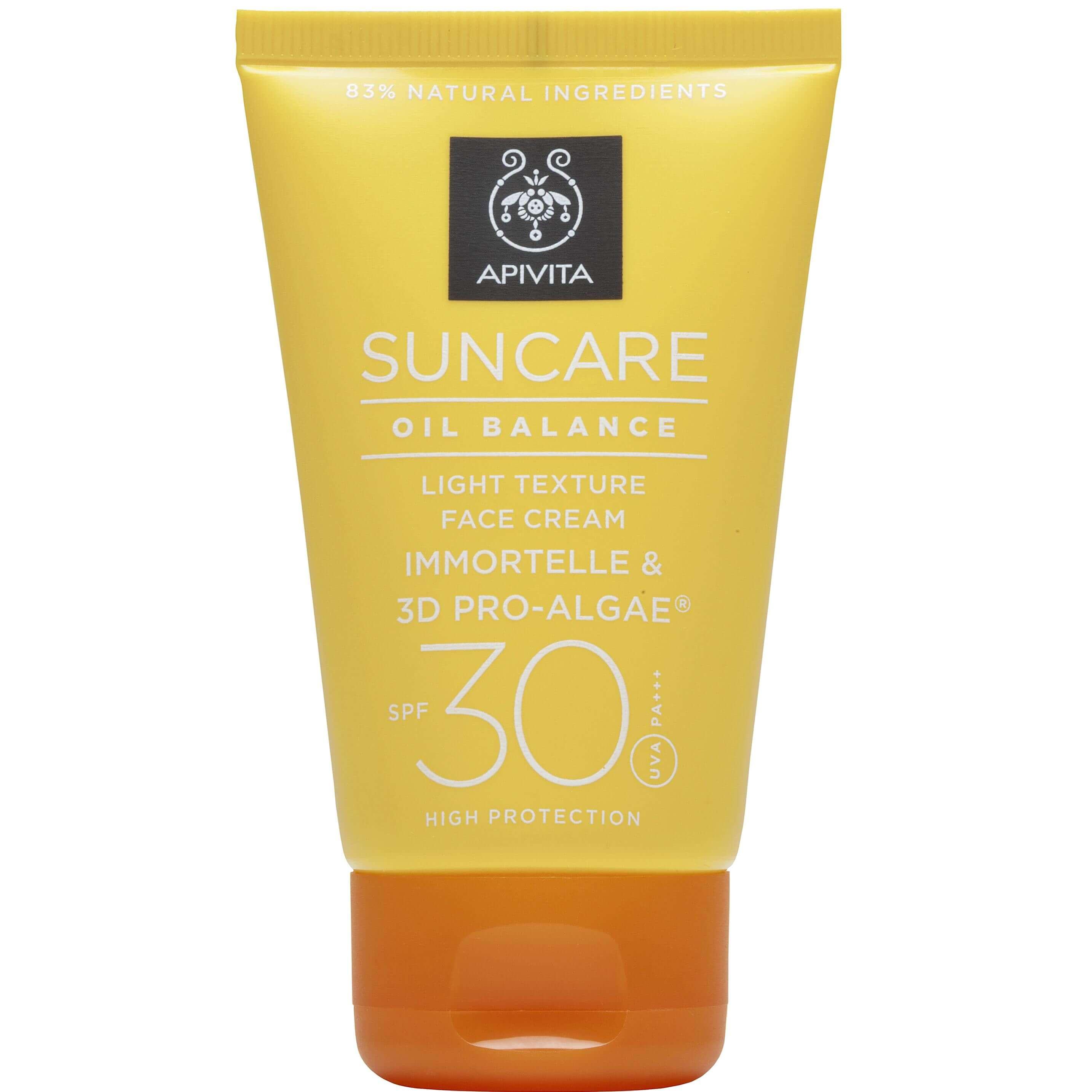 Apivita Suncare Oil Balance Light Texture Face Cream Αντηλιακή Κρέμα Προσώπου Spf30 με Eλίχρυσο & 3D PRO-ALGAE® 50ml