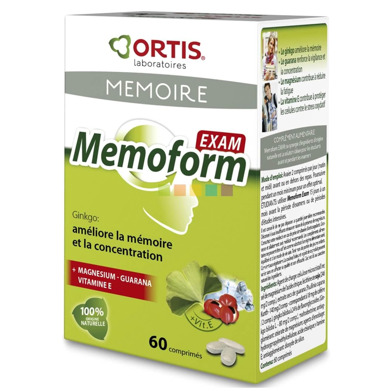 Ortis Memoform Exam Συμπλήρωμα Διατροφής για την Ενίσχυση της Μνήμης & της Συγκέντρωσης 60Τabs