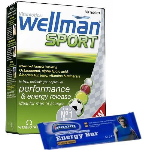 Vitabiotics Wellman Sport Ειδικά Σχεδιασμένη για Άνδρες που Αθλούνται 30Tabs &Δώρο1 Maxim Energy Bar