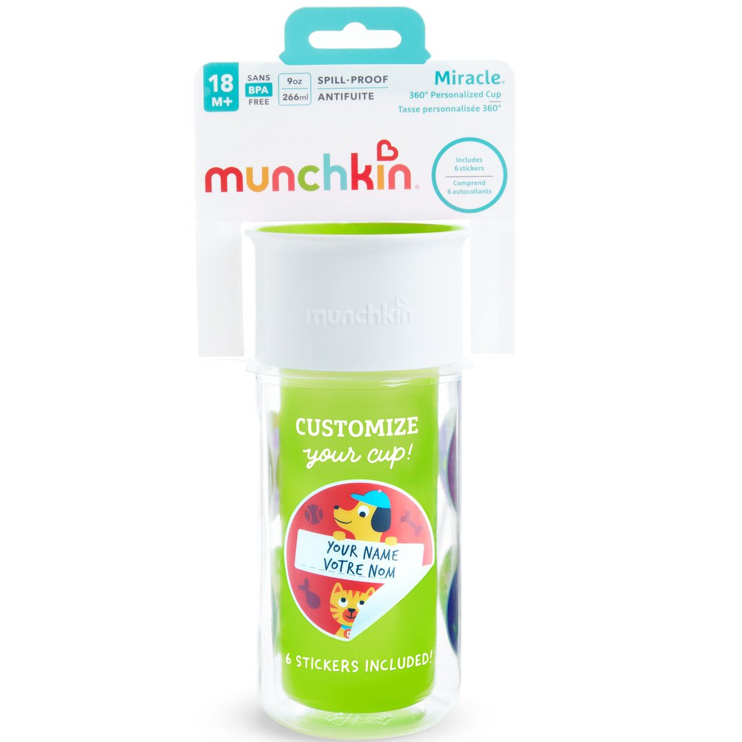 Munchkin Miracle 360 Insulated Sticker Cup Κύπελο Θερμός Πράσινο 266ml