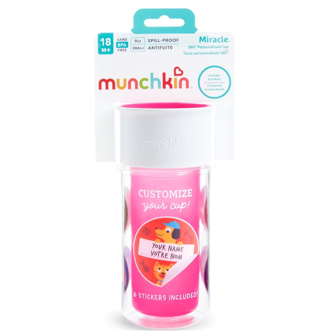 Munchkin Miracle 360 Insulated Sticker Cup Κύπελο Θερμός Ροζ 266ml
