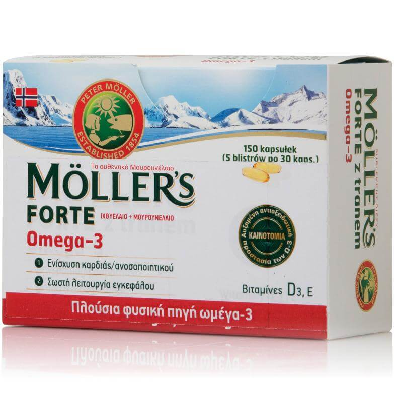 Möller's Forte Μουρουνέλαιο Μίγμα Ιχθυέλαιου & Μουρουνέλαιου Πλούσιο σε Ω3 Λιπαρά Οξέα 150 Κάψουλες