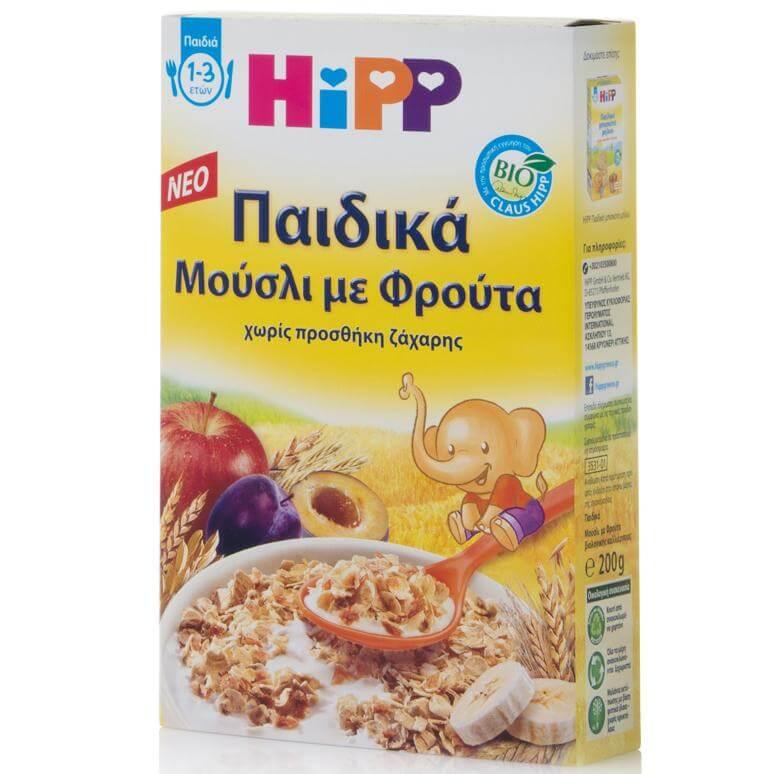 HIPP Παιδικά Μούσλι με Φρούτα Χωρίς Προσθήκη Ζάχαρης από 1 έως 3 ετών 200gr