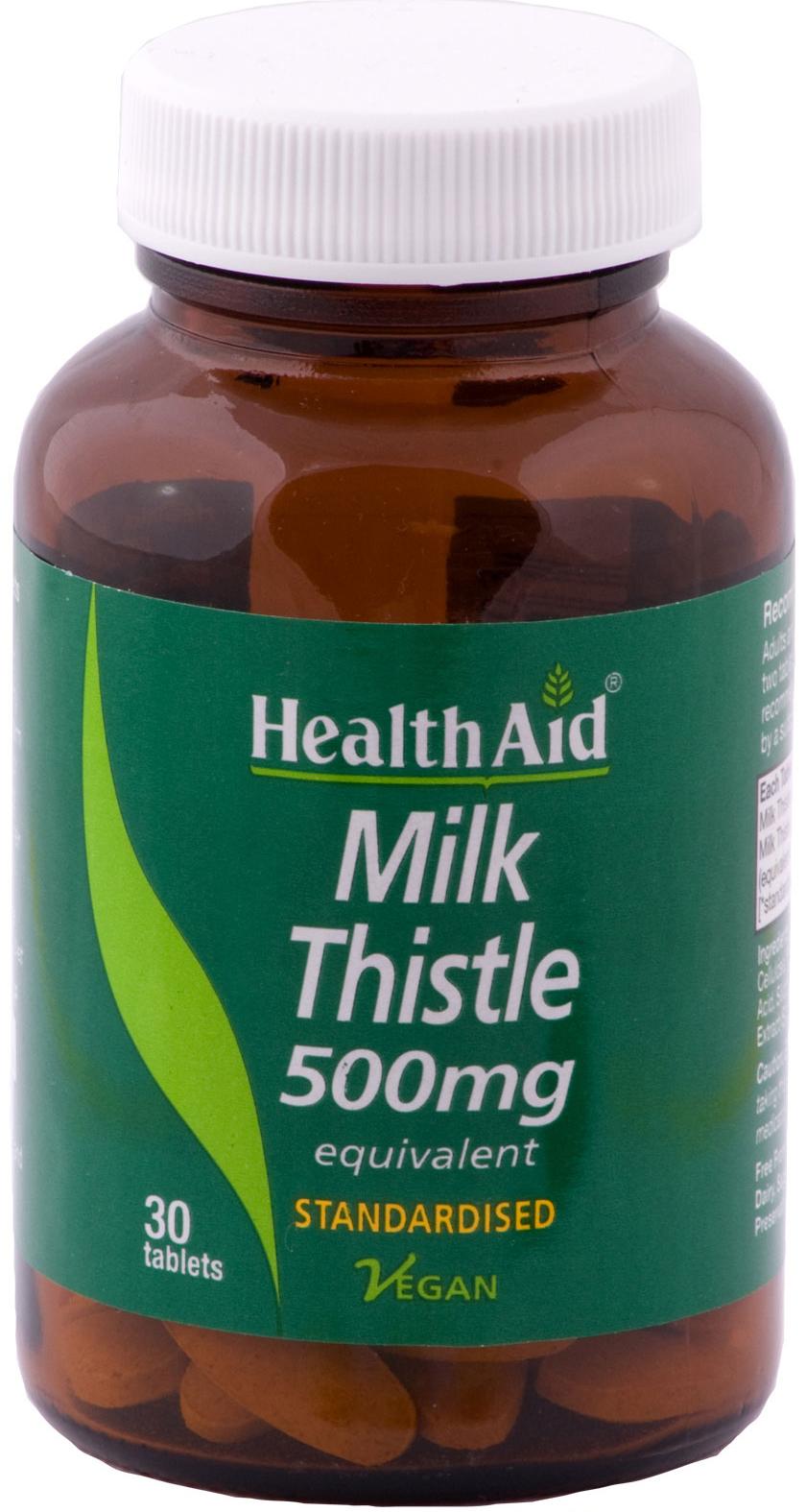 Health Aid Milk Thistle 500mg Φυσικό Ισχυρό Αντιοξειδωτικό 30Vetabs