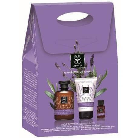 Apivita Πακέτο Προσφοράς Caring LavenderΑφρόλουτρο300ml &Κρέμα Σώματος 150ml &Καταπραϋντικό Λάδι Σώματος 20ml