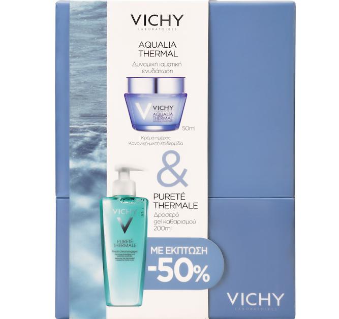 Vichy Πακέτο Προσφοράς Aqualia Thermal Light Cream Λεπτόρρευστη Κρέμα Για Κανονική Επιδερμίδα 50ml & Purete Thermale Gel 200ml