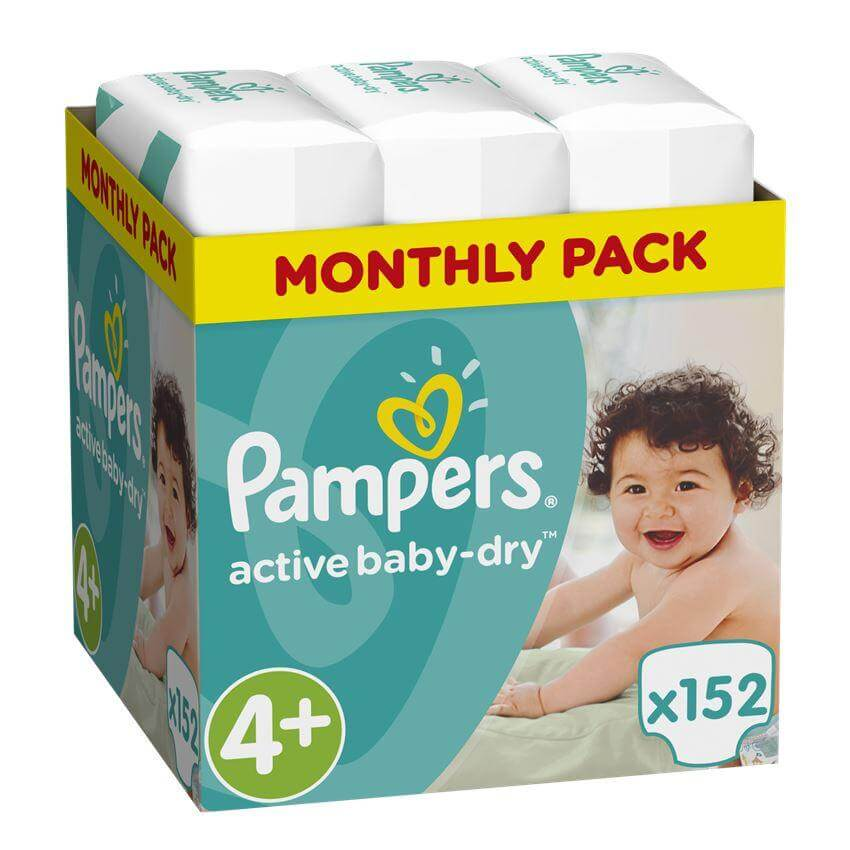 Pampers Active Baby Dry Monthly Pack No4+ Maxi Plus(9-16Kg) 152 πάνες, μόνο 0,2 μητέρα παιδί   περιποίηση για το μωρό   πάνες για το μωρό
