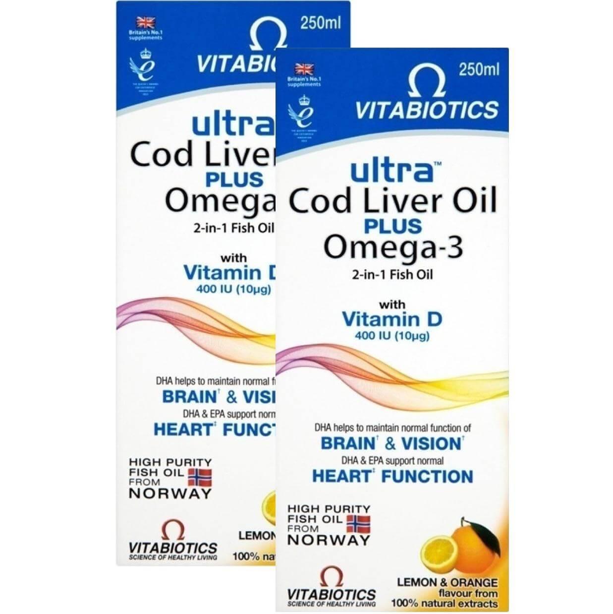 Vitabiotics Πακέτο Προσφοράς Ultra 2 in 1 Cod Liver Oil Liquid Συνδυασμός Ωμέγα-3 Ιχθυελαίων & Μουρουνέλαιου 250ml 1+1 Δώρο
