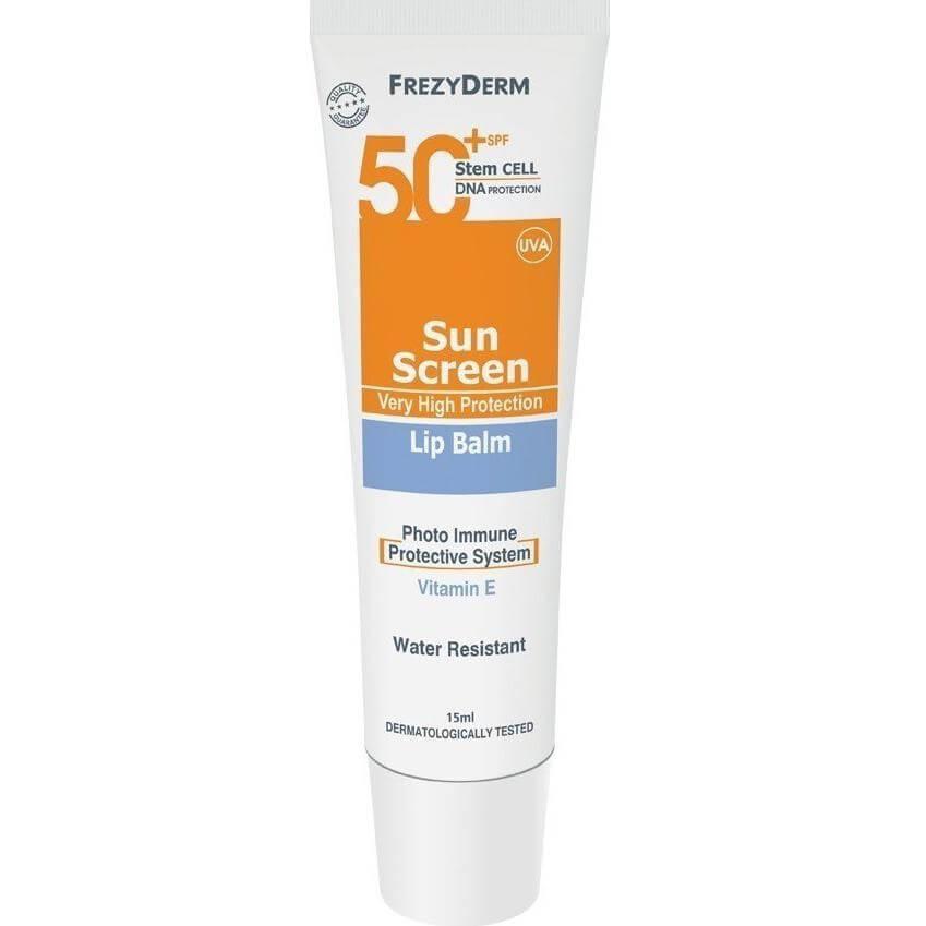 Frezyderm Sun Screen Lip Balm Spf50+ Πολύ Υψηλή Αντηλιακή Προστασία για τα Χείλη Χωρίς Χρώμα, με Βιταμίνη Ε 15ml