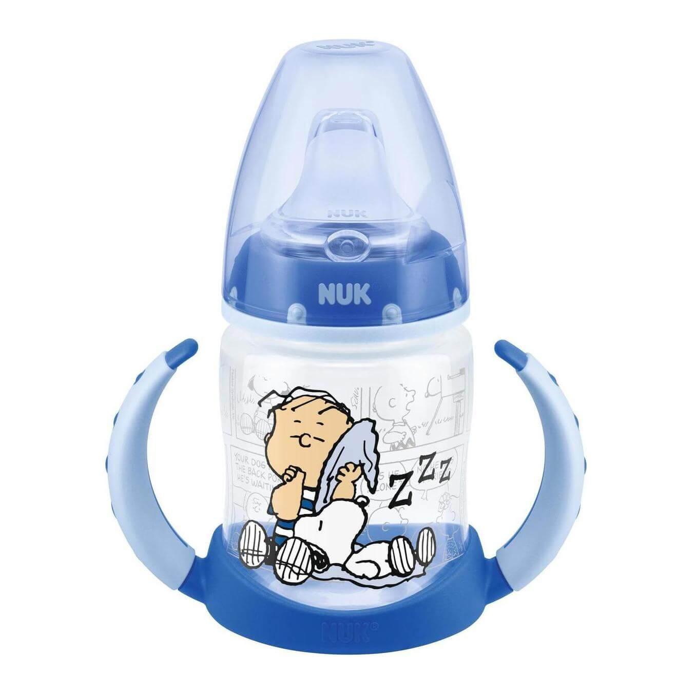 Nuk First Choice Snoopy Peanuts Μπιμπερό ΕκπαίδευσηςΠολυπροπυλενίουμε Λαβές&Ρύγχος Σιλικόνης 6-18m BPA Free 150ml – άσπρο