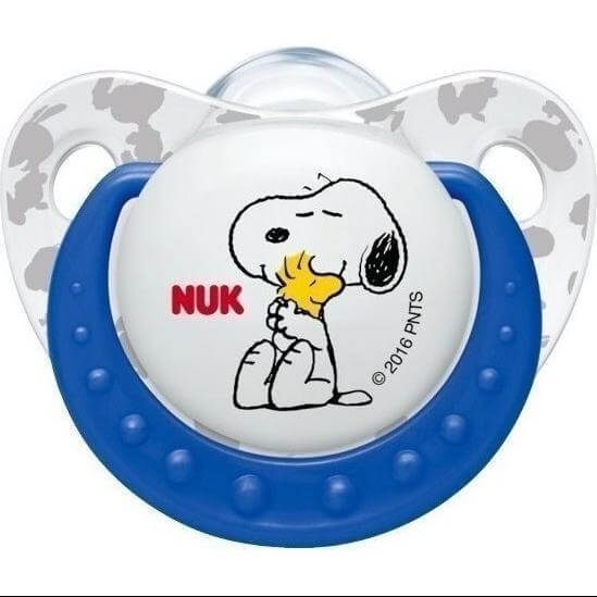 NukTrendline SnoopyPeanuts Πιπίλα Σιλικόνης με Κρίκο Χωρίς BPA Μπλε – Μέγεθος 2 (6-18 μηνών)