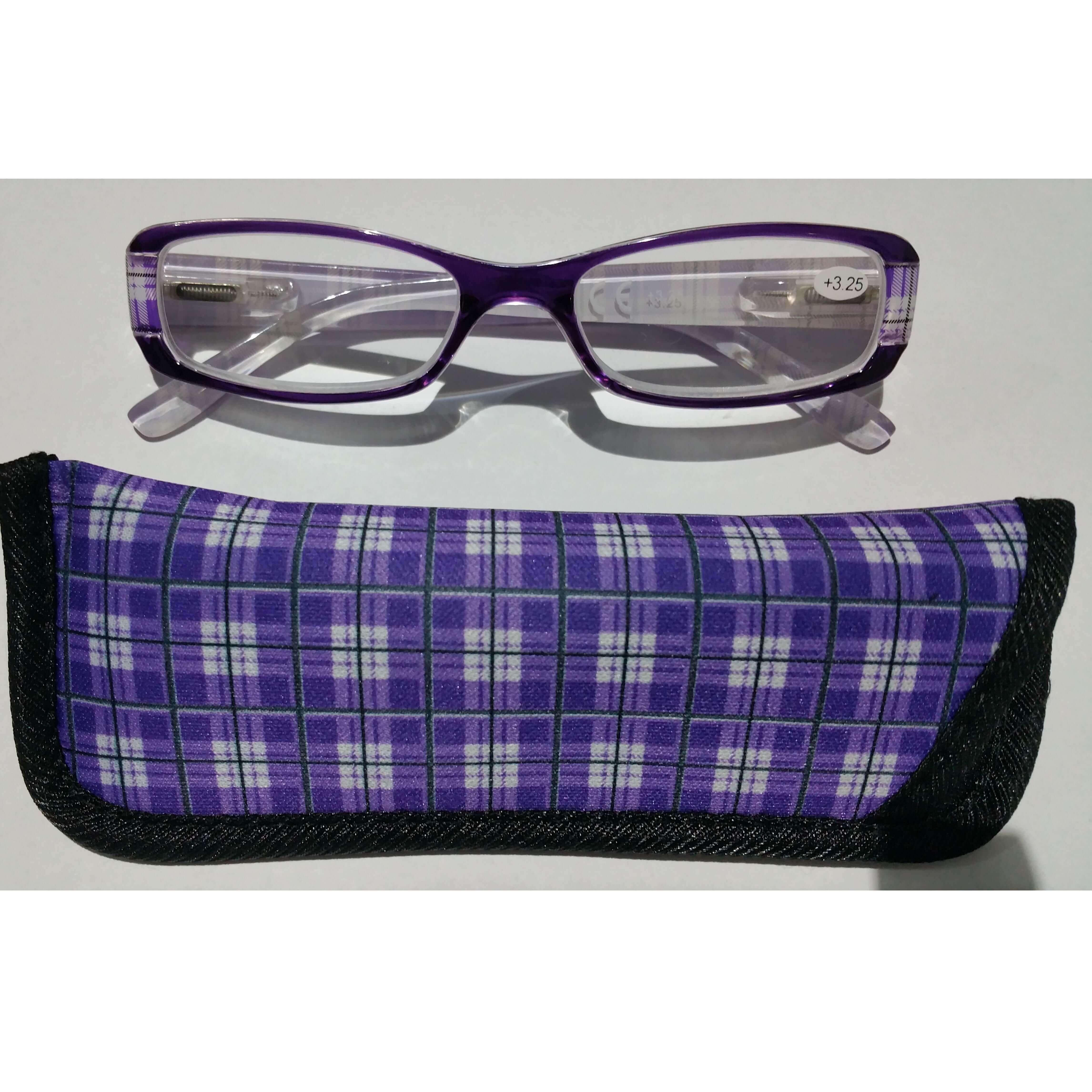 Γυαλιά Διαβάσματος Κοκκάλινα σε Μωβ Χρώμα με Ειδική Θήκη Φύλαξης – 4,00