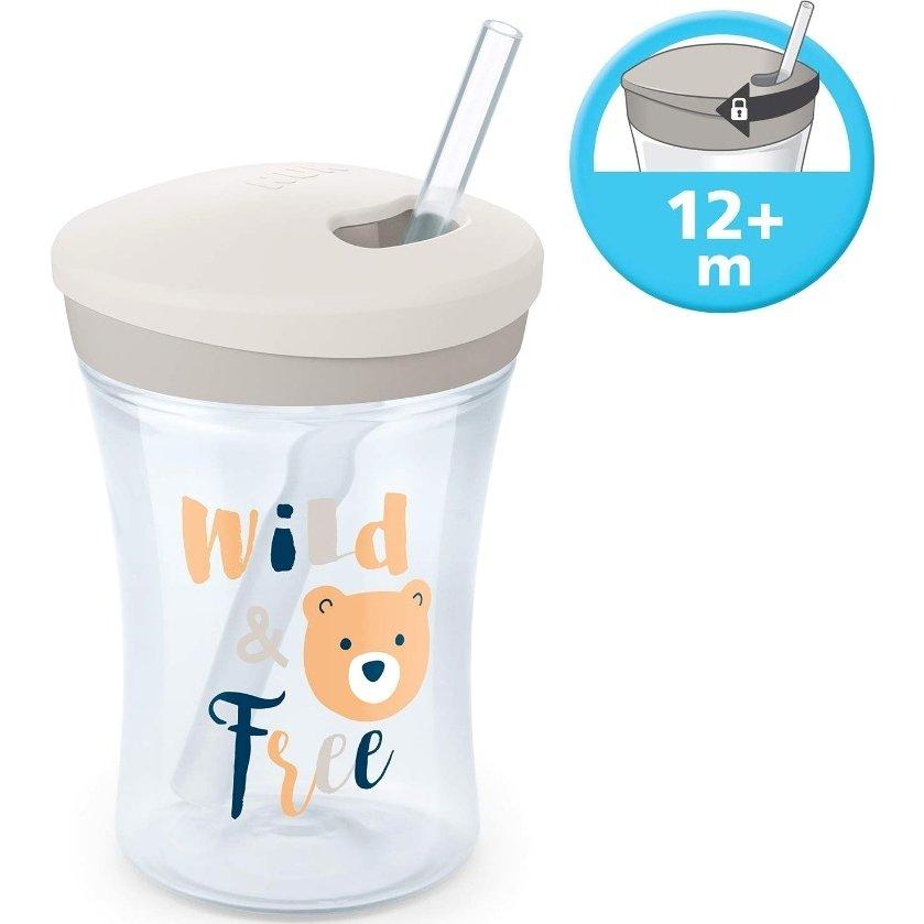 Nuk Action Cup Ποτηράκι με Καλαμάκι και Βυδωτό Καπάκι 12+m, 230ml – μπλέ