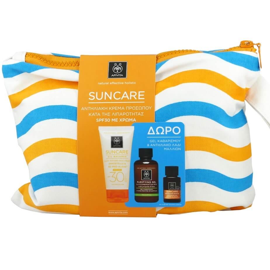 Apivita Πακέτο Suncare Oil Balance Tinted Light Texture Face Cream Spf30,50ml &  καλοκαίρι   αντηλιακά προσώπου   αντηλιακή προστασία προσώπου με χρώμα