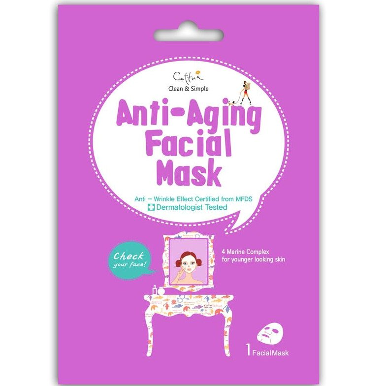 Vican Clean & Simple Anti-Aging Facial Mask, Μάσκα Θρέψης με 4 Θαλάσσια Συστατικά, 1 τμχ