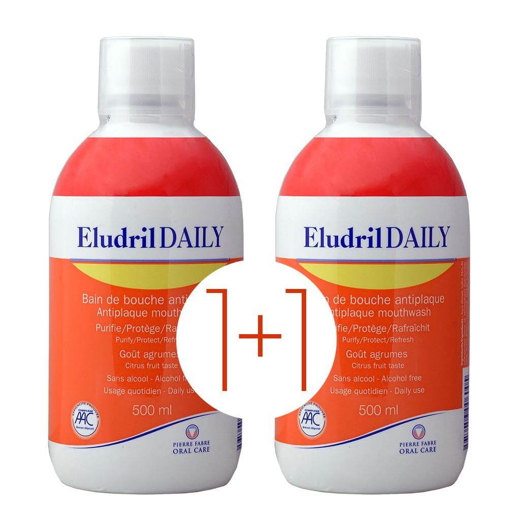 Eludril Πακέτο Προσφοράς Daily Στοματικό Διάλυμα Χωρίς Αλκοόλη 500ml 1+1 Δώρο