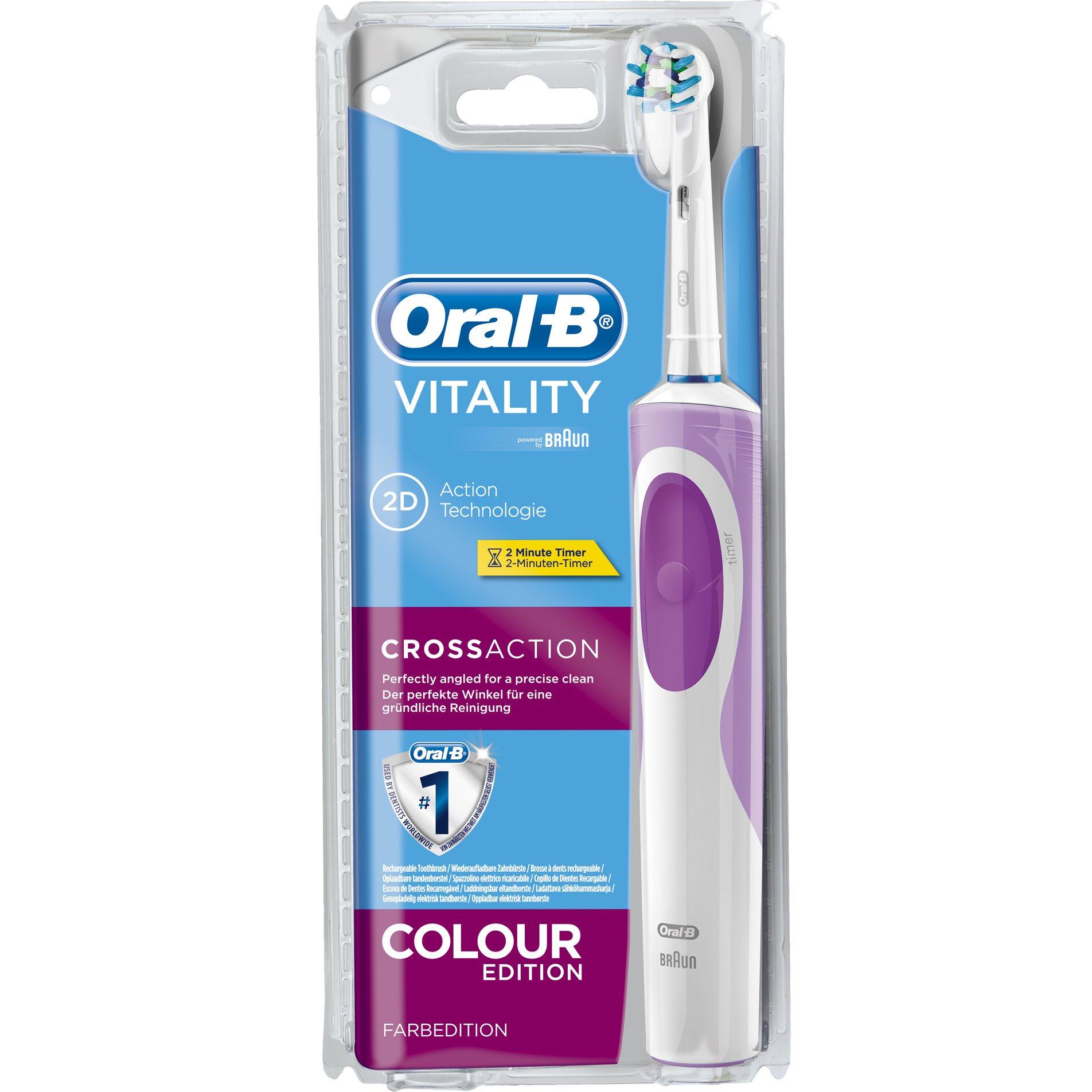 Oral B Vitality 2D Cross Action Colour Pink Edition Ηλεκτρική Οδοντόβουρτσα Τεχνολογία Καθαρισμού 2D σε Ροζ Χρώμα, 1τεμάχιο