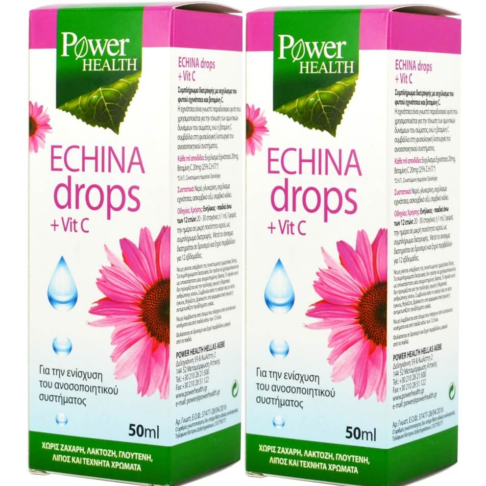 Power Health Πακέτο Προσφοράς Echina Drops Vitamin C Εχινάκεια με Βιταμίνη C για Ενίσχυση Ανοσοποιητικού 2x50ml