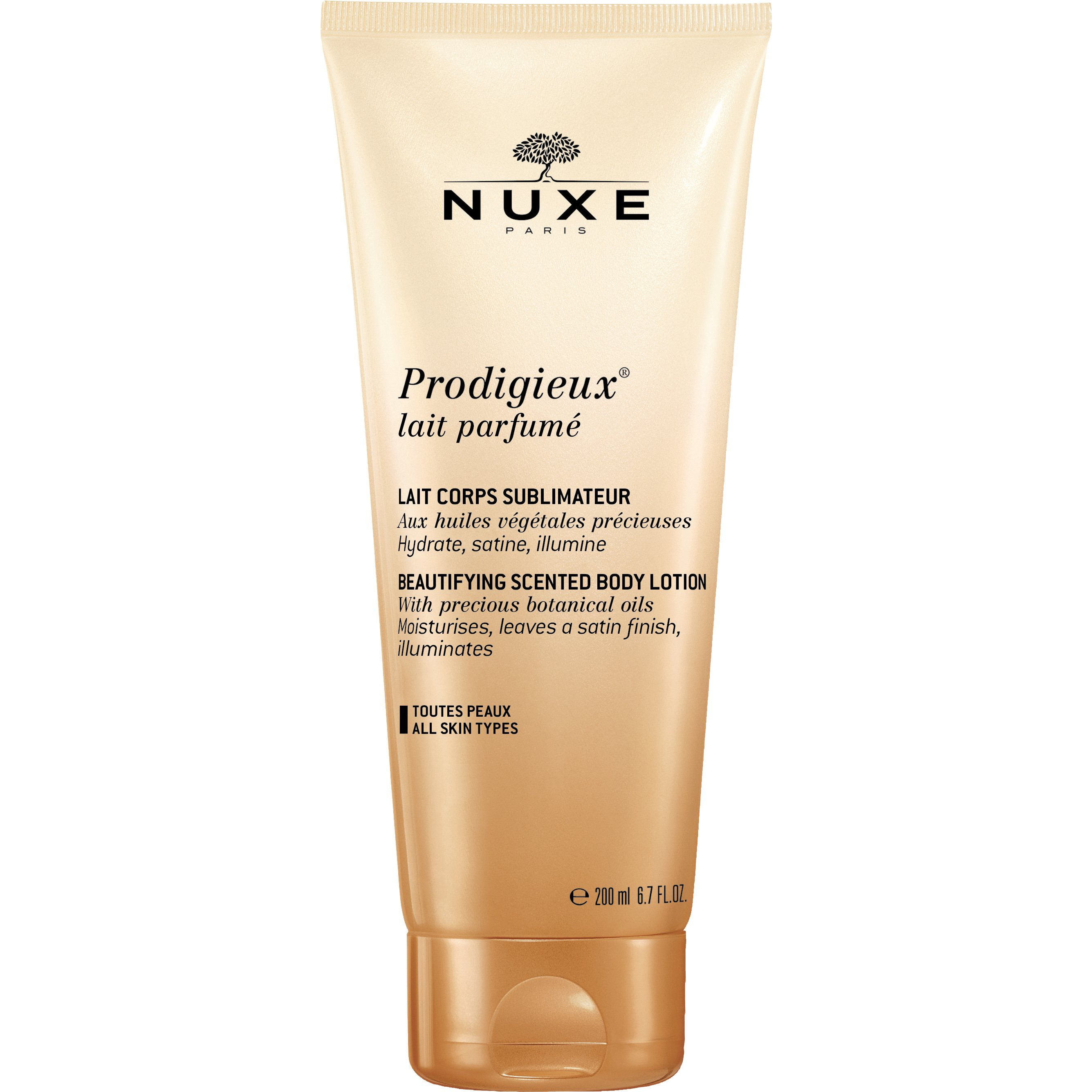 Nuxe Prodigieux Body Lotion Ενυδατώνει, Φωτίζει την Επιδερμίδα & Αφήνει ένα Σατινέ Φινίρισμα, με Πολύτιμα Βοτανικά Έλαια 200ml