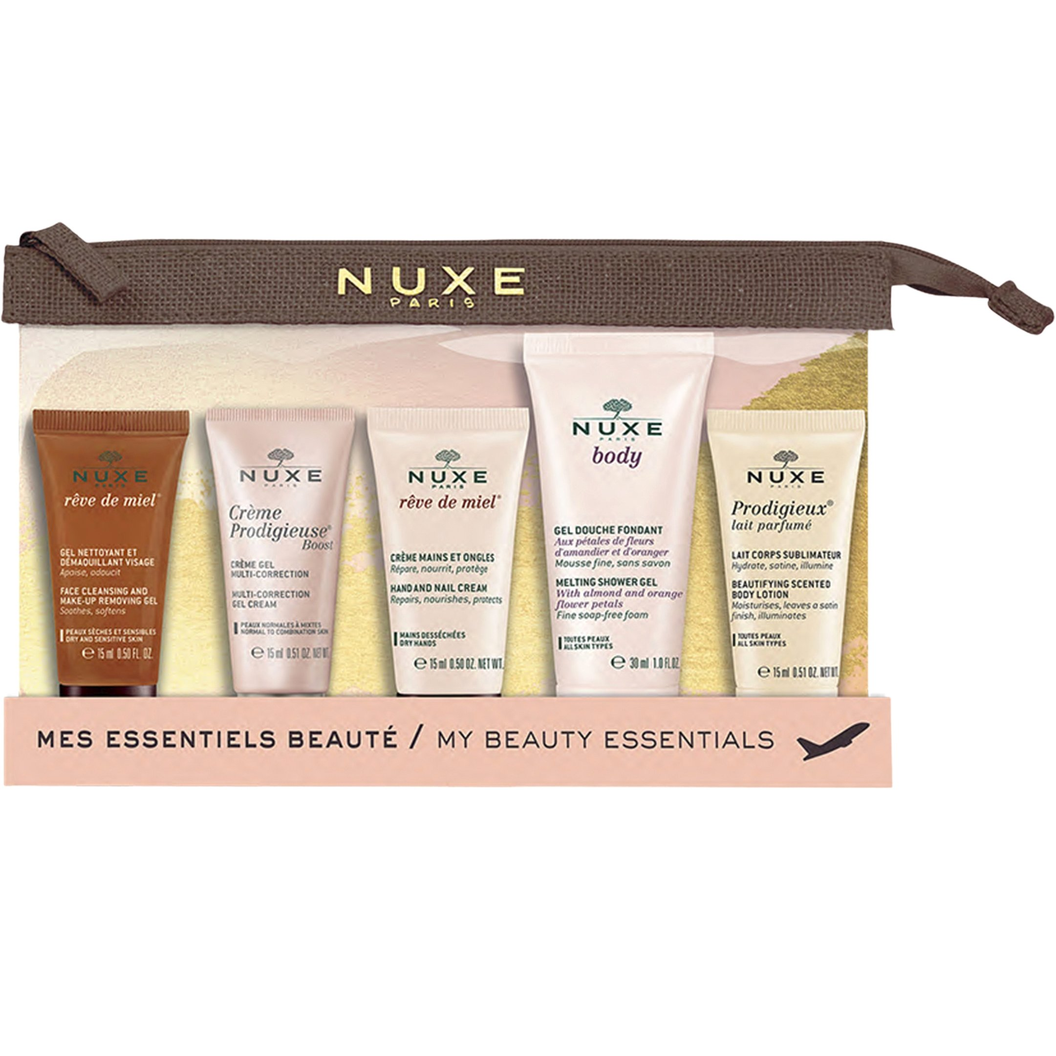 Nuxe My Beauty Essentials Travel Kit Σετ Ταξιδίου Με Αδιάβροχο Νεσεσέρ & 5 Travel Sizes Προϊόντα​​​​​​​