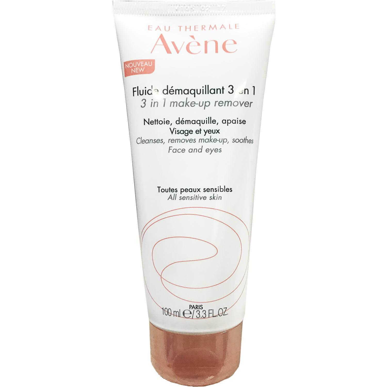 Avene Fluide Démaquillant 3-in-1 Γαλάκτωμα Ντεμακιγιάζ για Πρόσωπο, Μάτια & Χείλη Χωρίς Ξέπλυμα 100ml