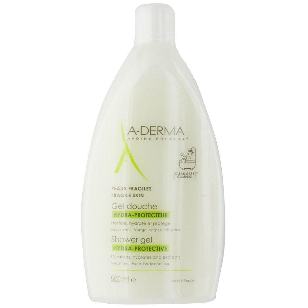 A-Derma Gel Douche Hydra-Protective Αφρίζον Ζελ Καθαρισμού,Πρόσωπο Σώμα & Μαλλιά, Εύθραυστο Δέρμα Όλης της Οικογένειας 500ml
