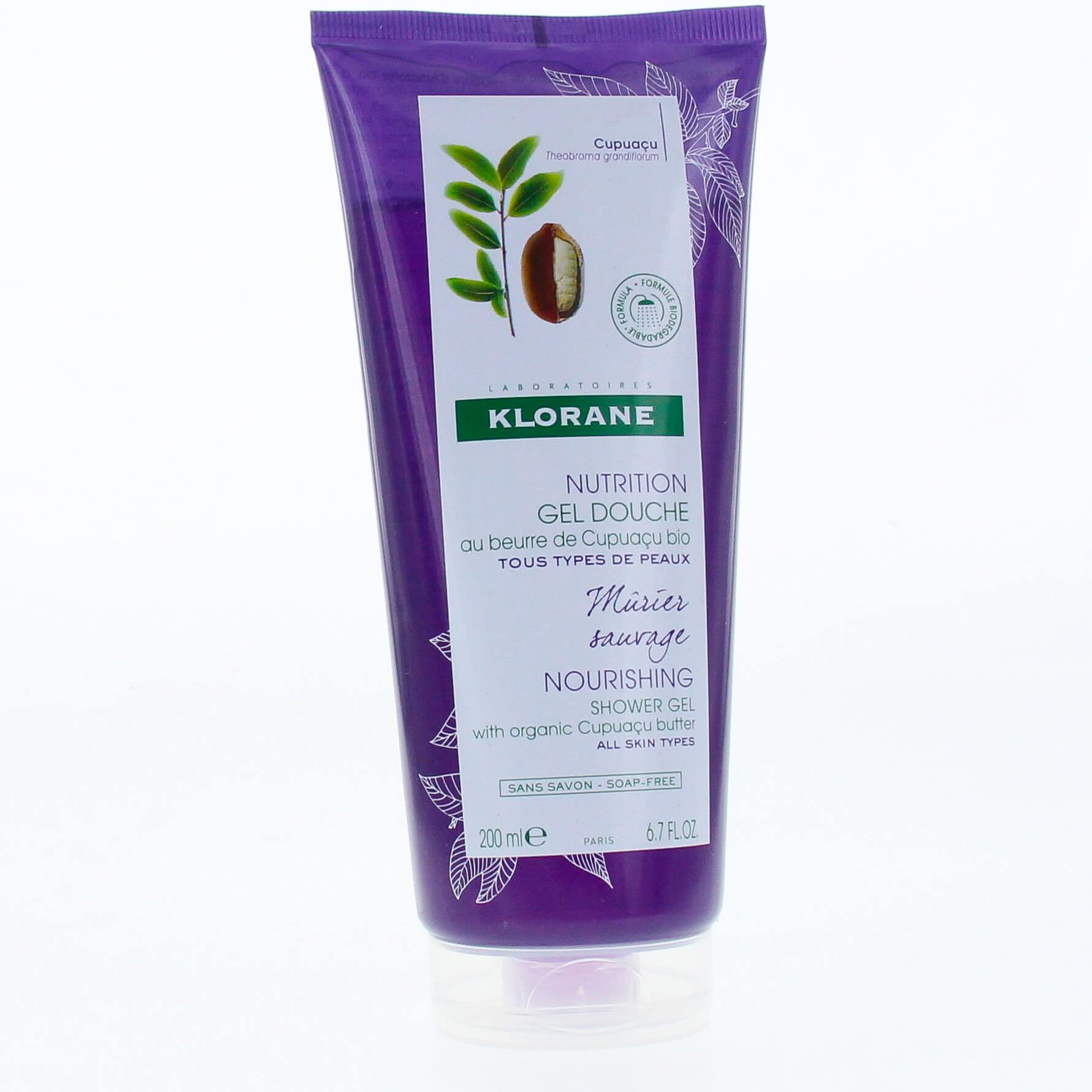 Klorane Nourishing Shower Gel with Organic Cupuacu Butter & Wild Blackberry Bush Απαλό Αφρόλουτρο με Άρωμα Άγριο Μούρο 200ml