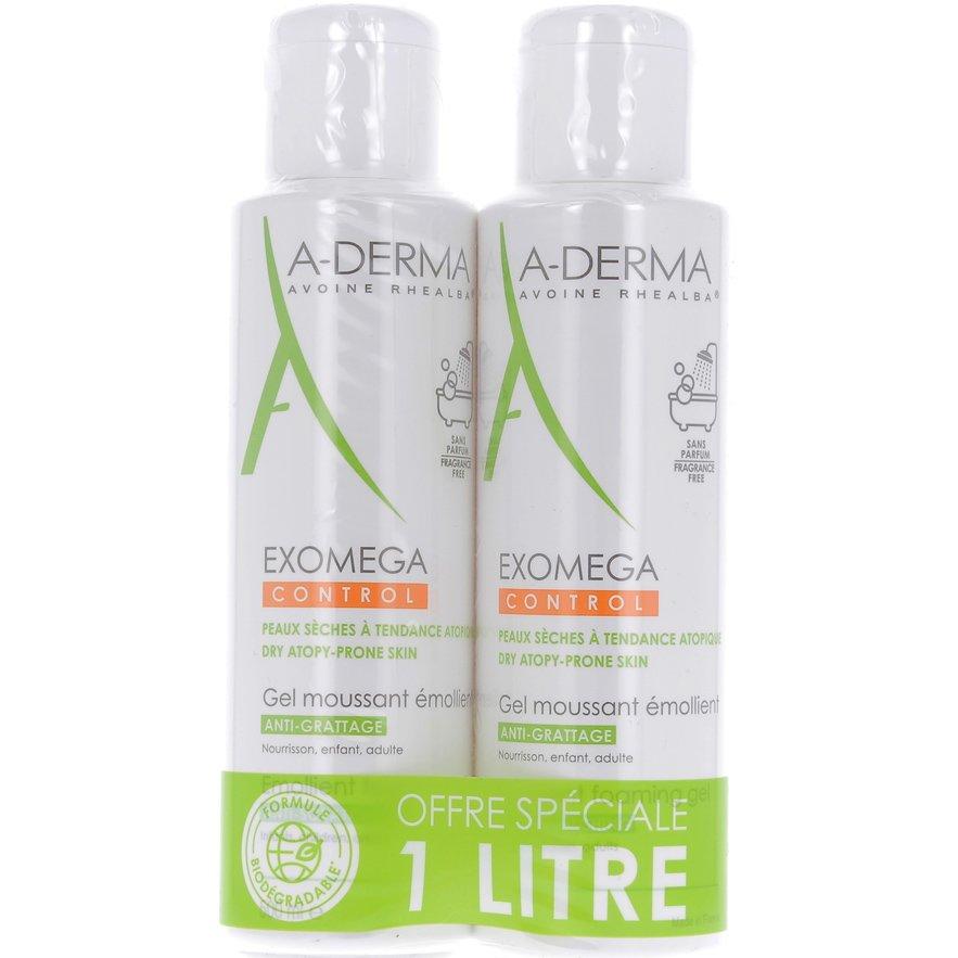 A-Derma Πακέτο Προσφοράς Exomega Control Gel Moussant Emolient Μαλακτικό Ζελ Καθαρισμού για το Ατοπικό Δέρμα 2x500ml