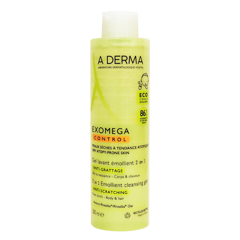 A-Derma Exomega Control Gel Lavant Emollient 2 en 1 Ενυδατικό Ζελ Καθαρισμού για Ατοπικό – Ξηρό Δέρμα για Σώμα & Μαλλιά 200ml