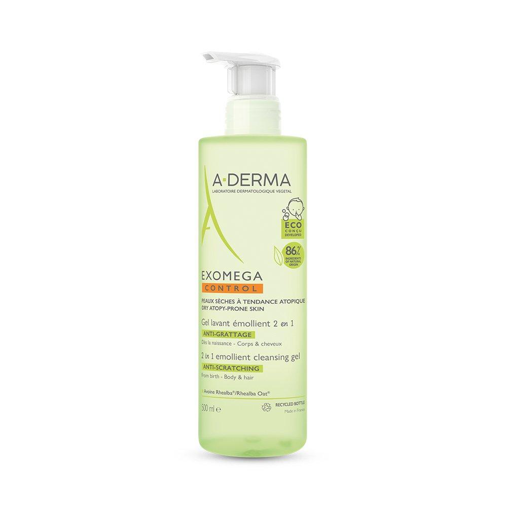 A-derma Exomega Control 2in1 Cleansing Gel Μαλακτικό Τζελ Καθαρισμού Μαλλιών & Σώματος για Βρέφη, Παιδιά & Ενήλικους 500ml
