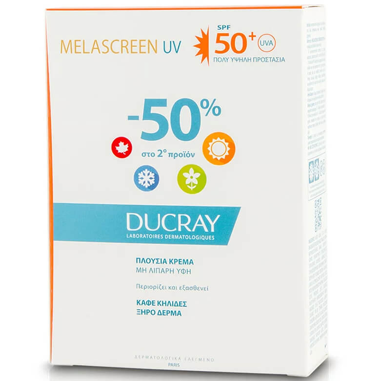 Ducray Duo Melascreen UV Creme Rich Spf50+ Dry Touch Πλούσια Αντηλιακή Κρέμα Πολύ Υψηλής Προστασίας 2x40ml σε Ειδική Τιμή