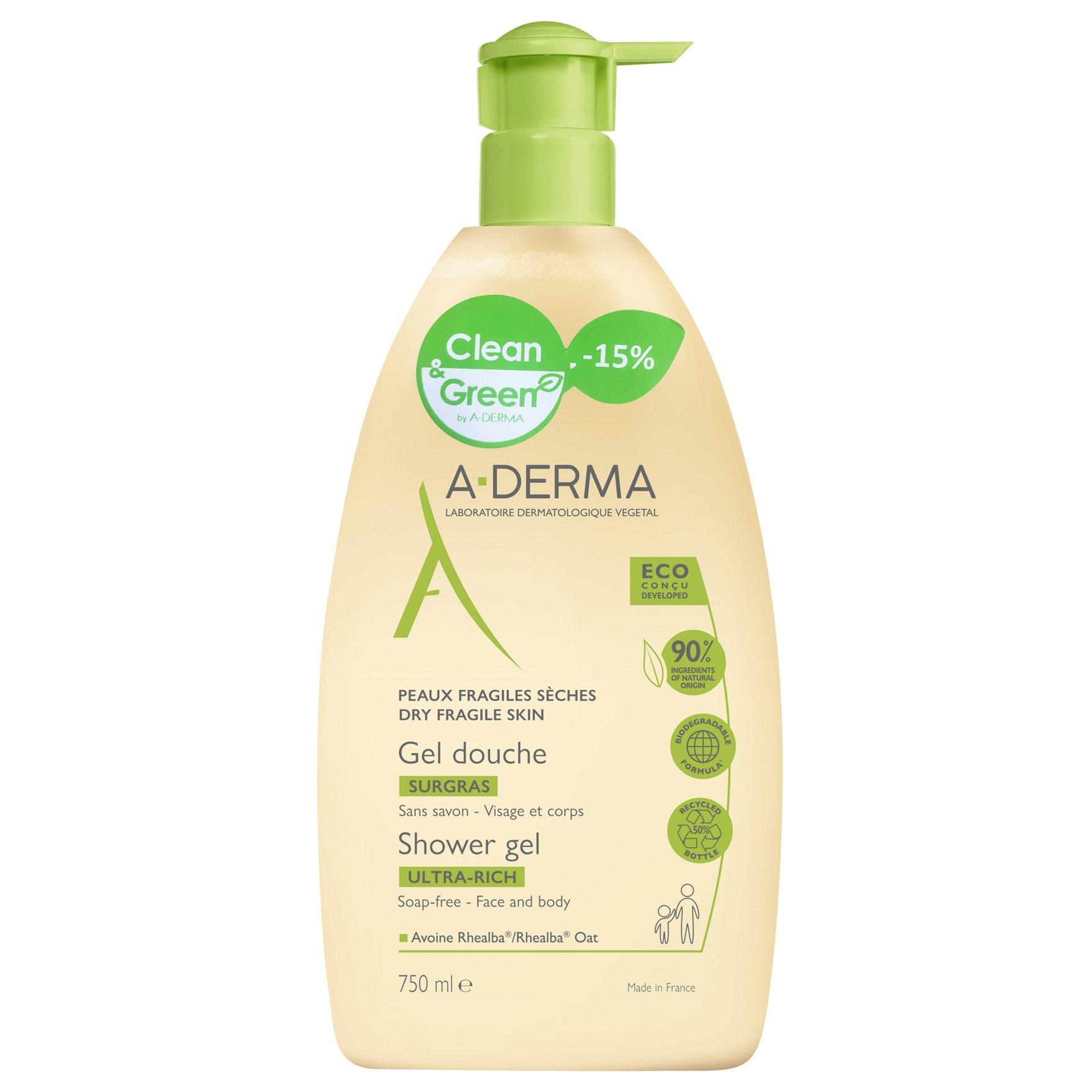 A-Derma Promo Ultra Rich Shower Gel Πλούσιο Gel Καθαρισμού Προσώπου & Σώματος για Ξηρή & Ευαίσθητη Επιδερμίδα 750ml -15%