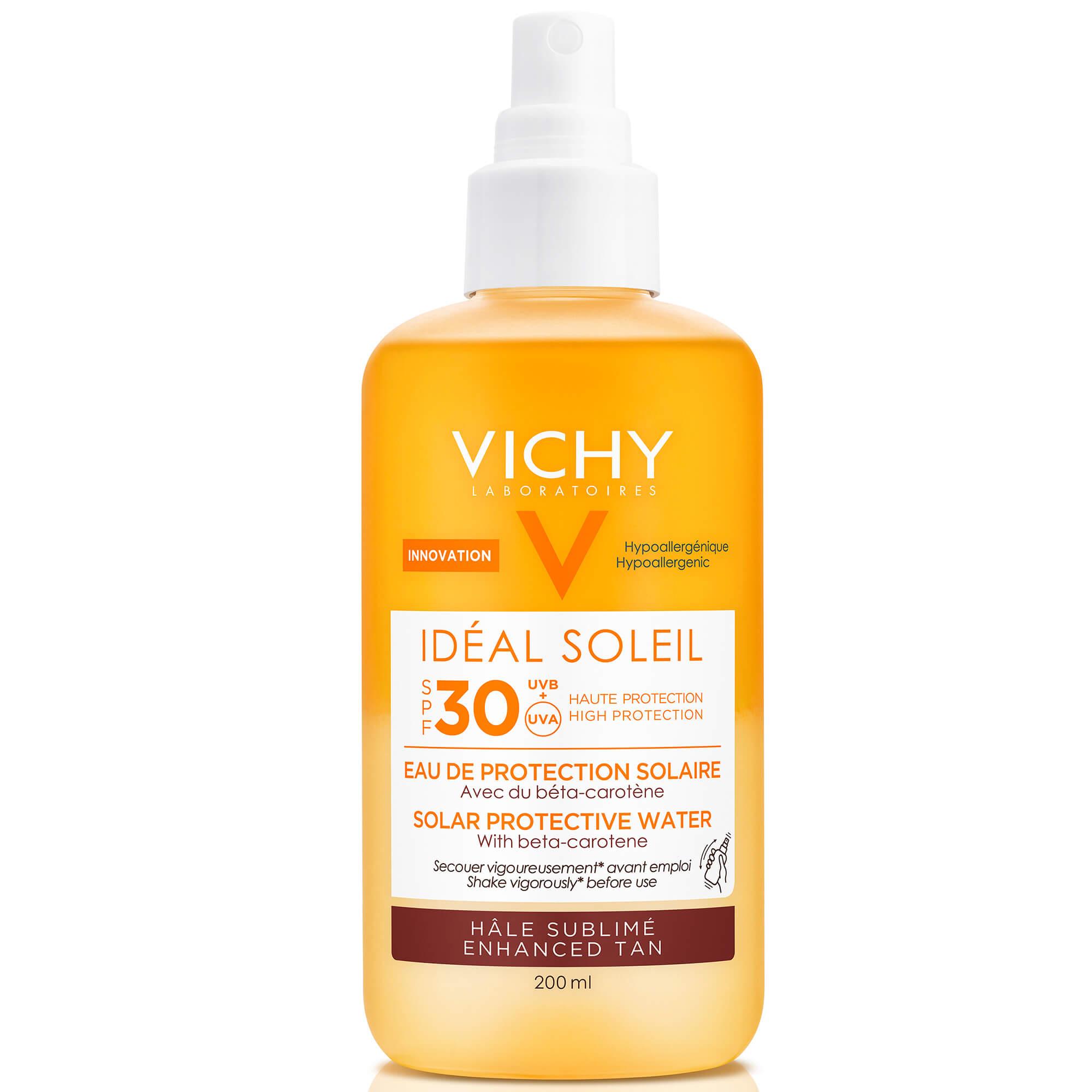 Vichy Ideal Soleil Spf30 Νερό Υψηλής Προστασίας από τον Ήλιο με Βήτα Καροτίνη για Λαμπερό Μαύρισμα 200ml