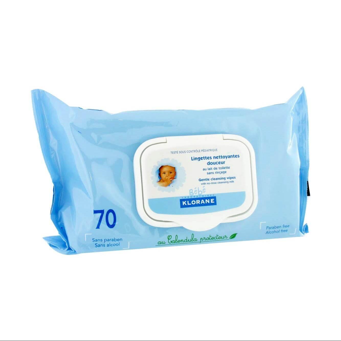 Klorane Bebe Cleansing Wipes, 70 τμχ