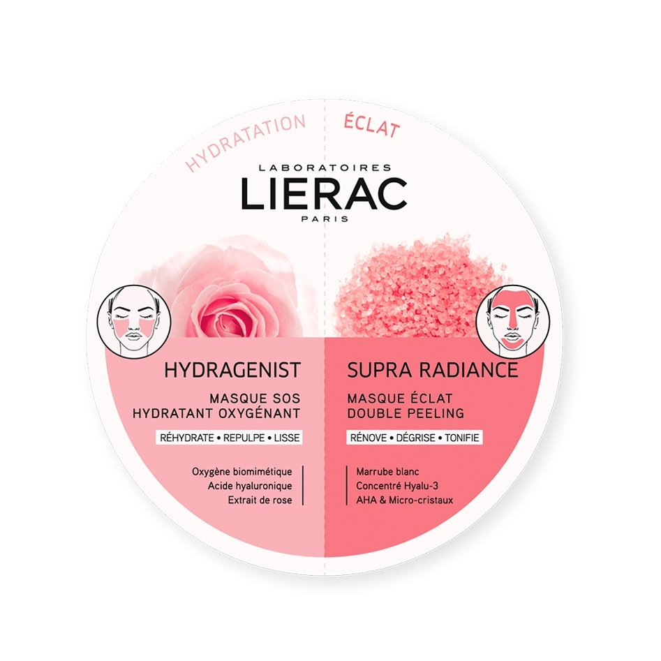 Lierac Duo Masks Hydragenist Masque SOS Hydratant Oxygenant & Supra Radiance Masque Eclat Double Peeling 2x6ml