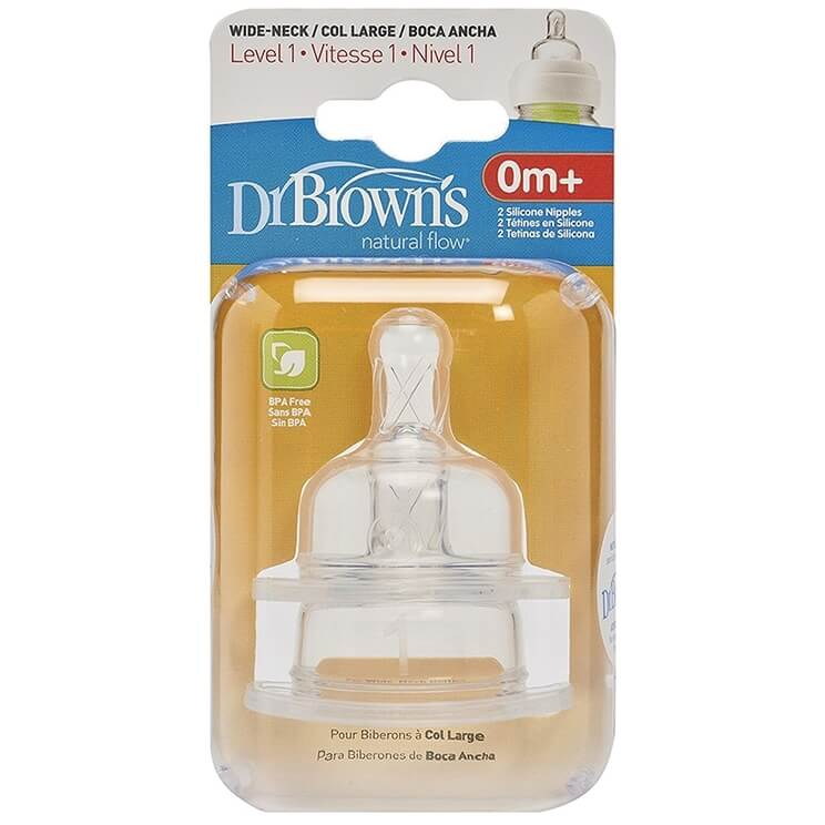 Dr. Browns Θηλές Σιλικόνης για Μπιμπερό με Φαρδύ Λαιμό, Eπίπεδο 1, για Βρέφη 0 – 3 μηνών 2τμχ 352-GB