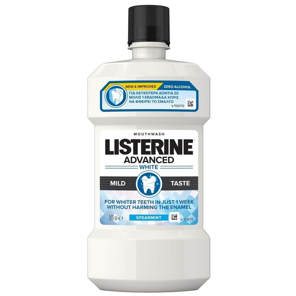 Listerine Advanced White Mild Taste Στοματικό Διάλυμα για Λευκότερα Δόντια σε Μόλις 1 Εβδομάδα Χωρίς να Φθείρει το Σμάλτο 500ml