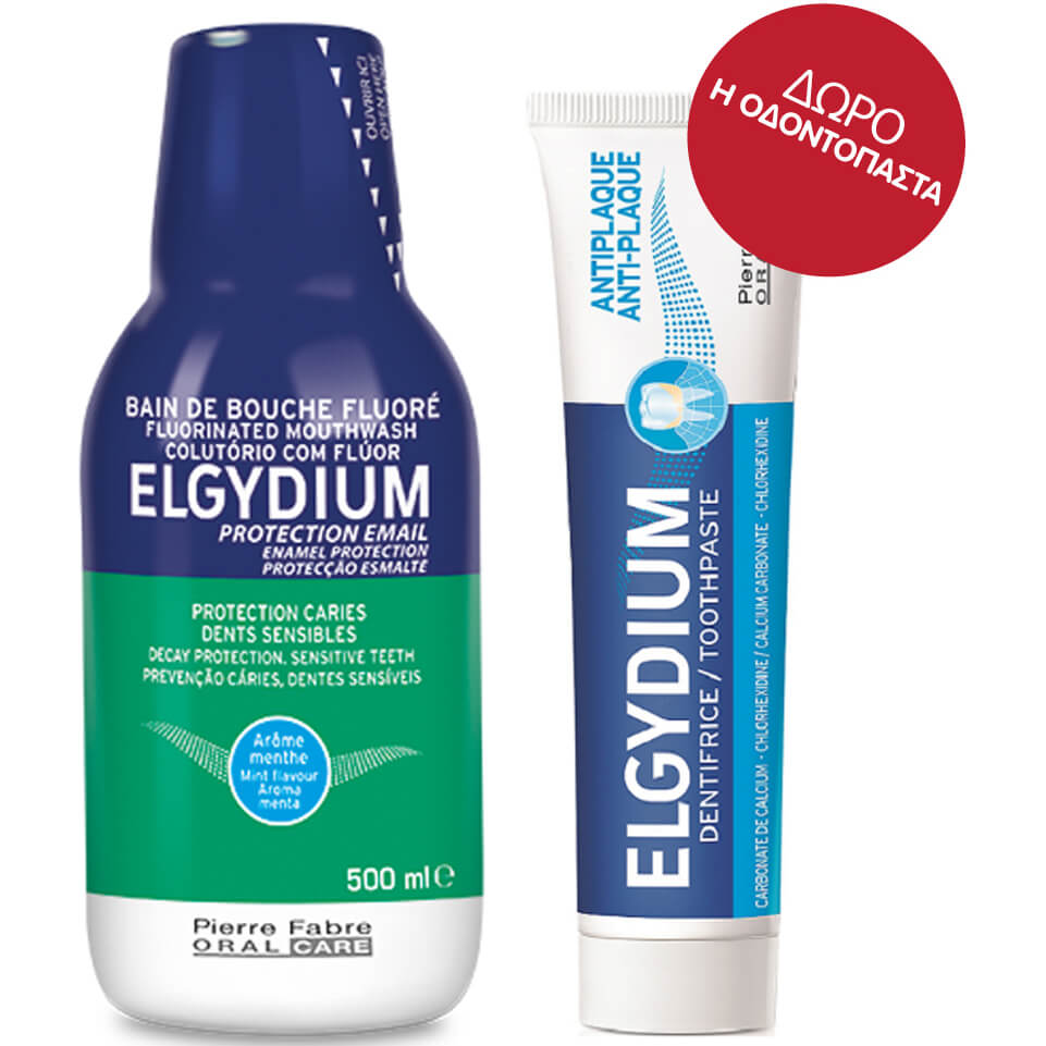 Elgydium Fluor Στοματικό Διάλυμα 500ml + Δώρο Οδοντόκρεμα Elgydium Anti-plaque 38ml