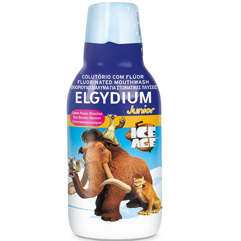 Elgydium Junior Mouthwash Ice Age 7/12 Ετών, Φθοριούχο Στοματικό Διάλυμα για Παιδιά με Γεύση Red Berries 500ml