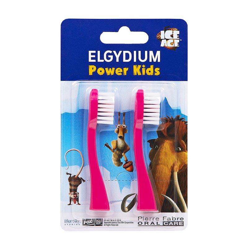 Elgydium Power Kids Ice Age Refill Ανταλλακτικές Κεφαλές για την Οδοντόβουρτσα Elgydium Power Kids σε Ροζ Χρώμα 2 Τεμάχια