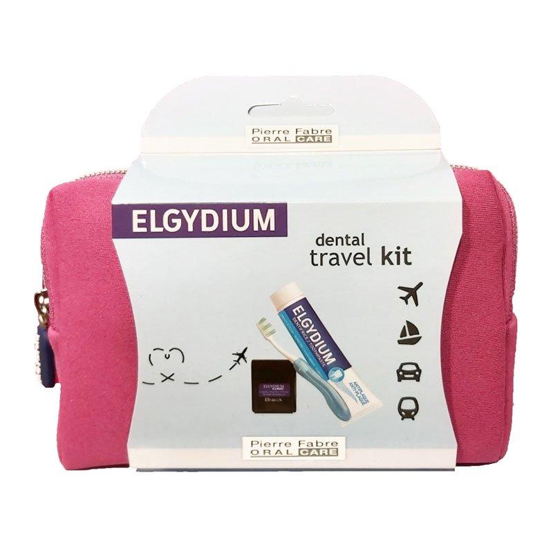 Elgydium Dental Travel Kit Σετ Ταξιδιού με Οδοντόβουρτσα, Οδοντόκρεμα, Οδοντικό Νήμα & Νεσεσέρ σε Ροζ Χρώμα