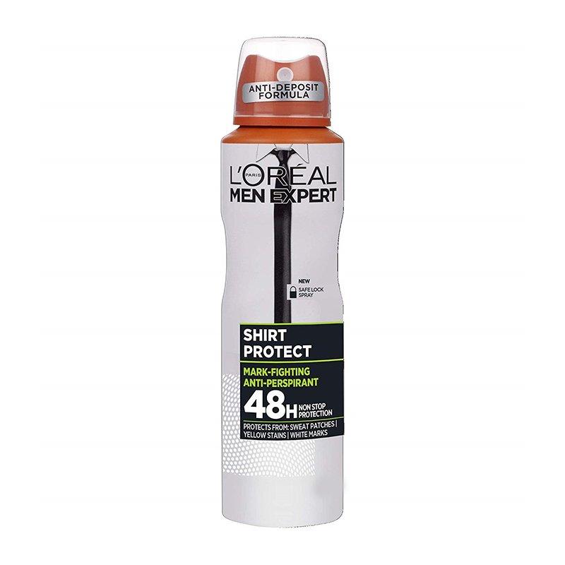 L'oreal Paris Men Expert Shirt Protect Spray Ανδρικό Αποσμητικό Spray 48ωρης Προστασίας Ενάντια στα Λευκά, Κίτρινα Σημάδια 150ml