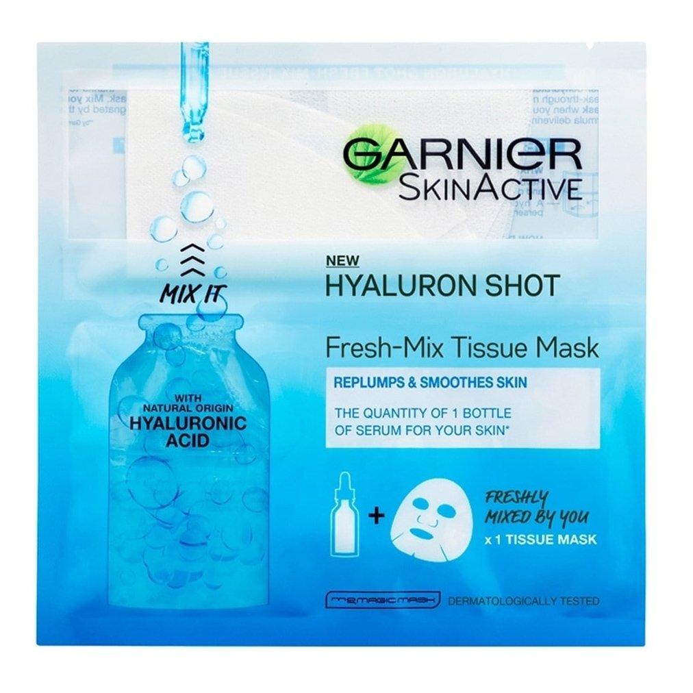 Garnier Hyaluron Shot Fresh-Mix Tissue Mask Υφασμάτινη Μάσκα με Υαλουρονικό Οξύ που Αναπληρώνει την Υγρασία της Επιδερμίδας 33gr