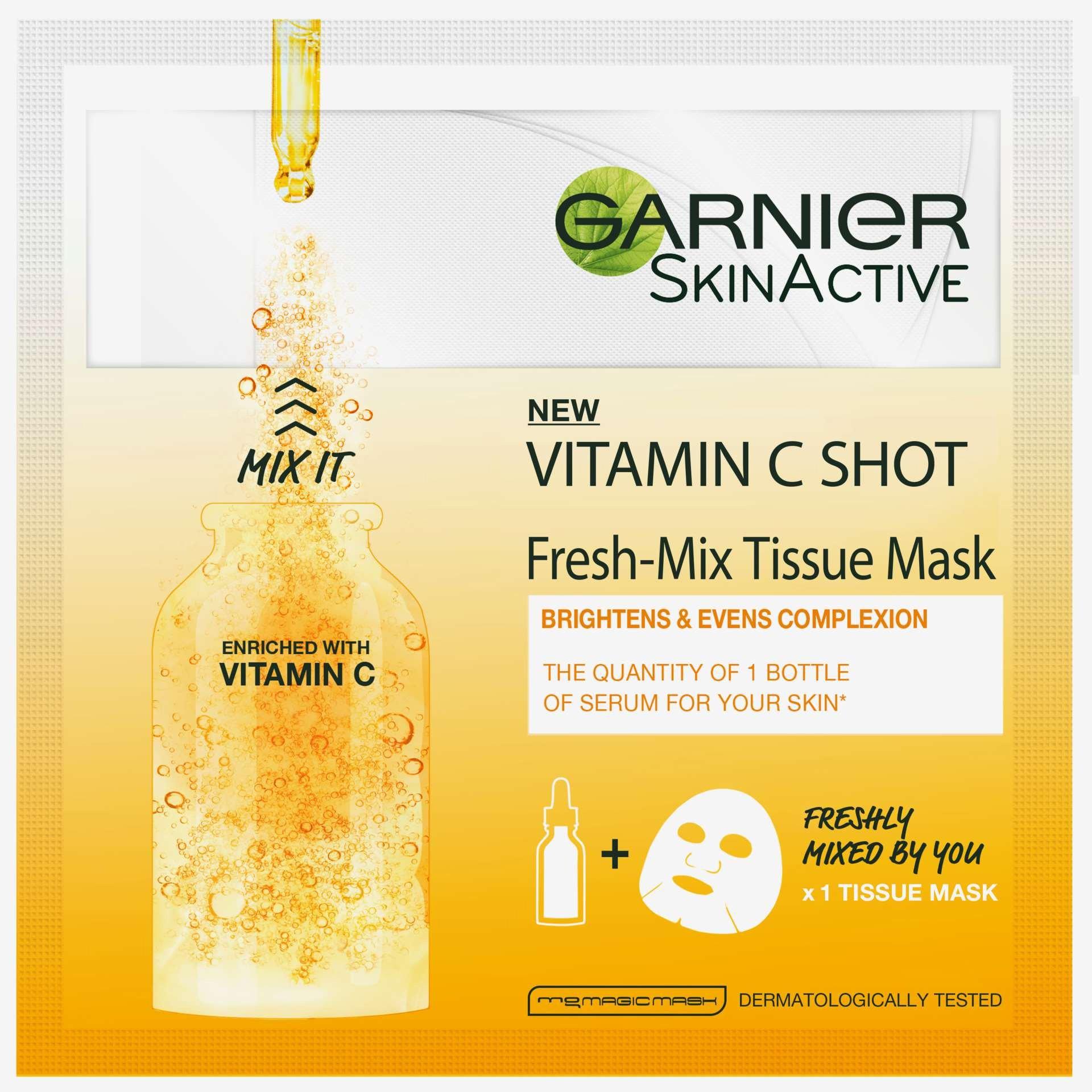 Garnier Vitamin C Shot Fresh-Mix Tissue Mask Υφασμάτινη Μάσκα με Βιταμίνη C για Λάμψη της Επιδερμίδας 33gr