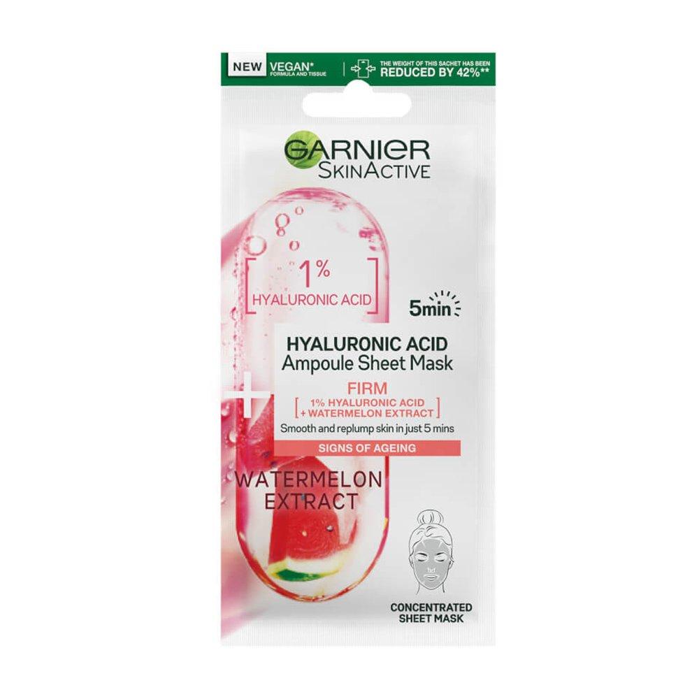 Garnier SkinActive Hyaluronic Acid Ampoule Sheet Mask Υφασμάτινη Μάσκα Προσώπου με Υαλουρονικό Οξύ & Καρπούζι 1 Τεμάχιο