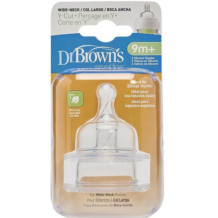 Dr. Browns Θηλές Σιλικόνης για Μπιμπερό με Φαρδύ Λαιμό Με Φαρδιά Τομή σε Σχήμα Υ για Παχύρρευστη Τροφή 2τεμ.9m+,362-GB