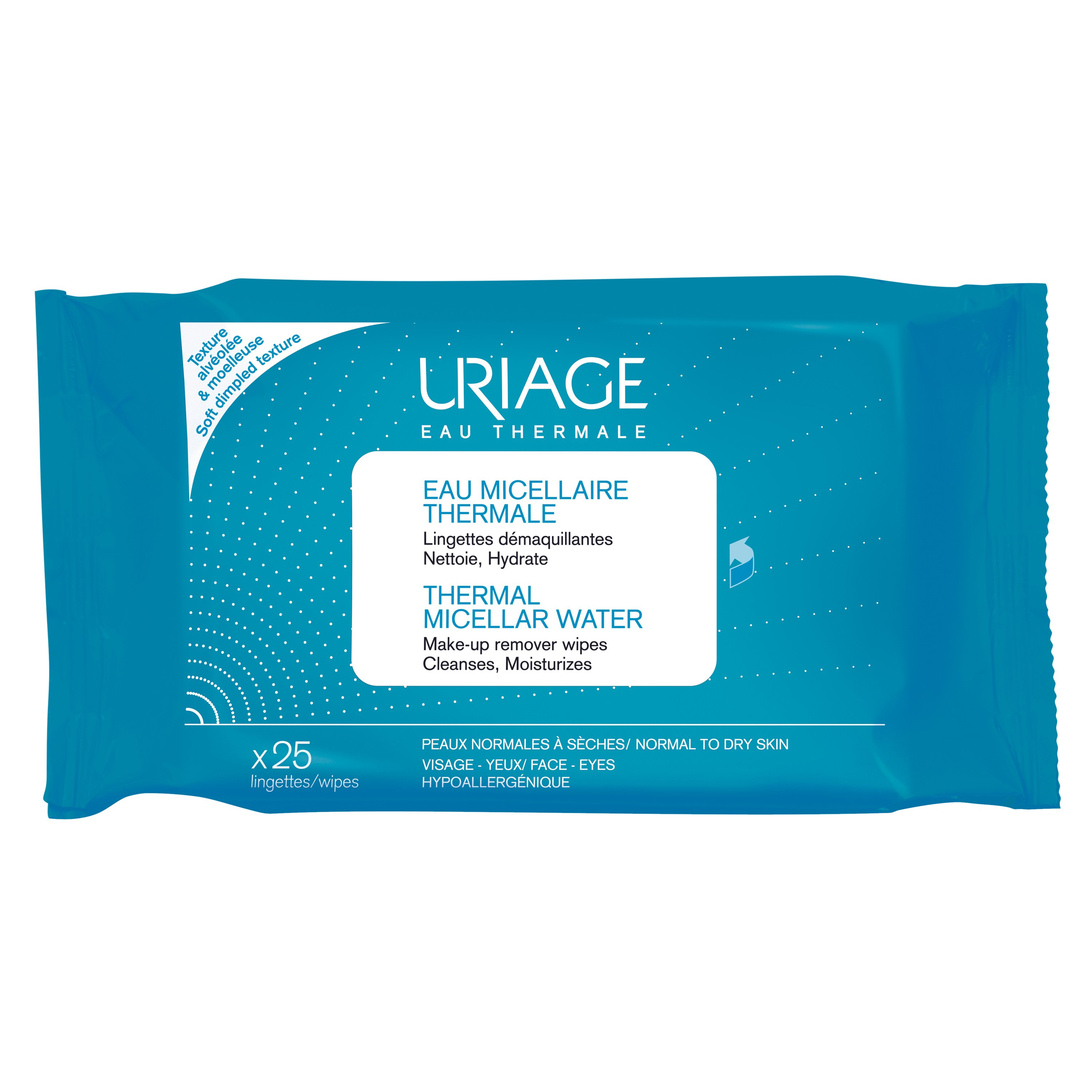 Uriage Eau Thermal Micellar Water Make-up Remover Wipes Μαντηλάκια Καθαρισμού & Ντεμακιγιάζ Προσώπου Ματιών 25 Wipes