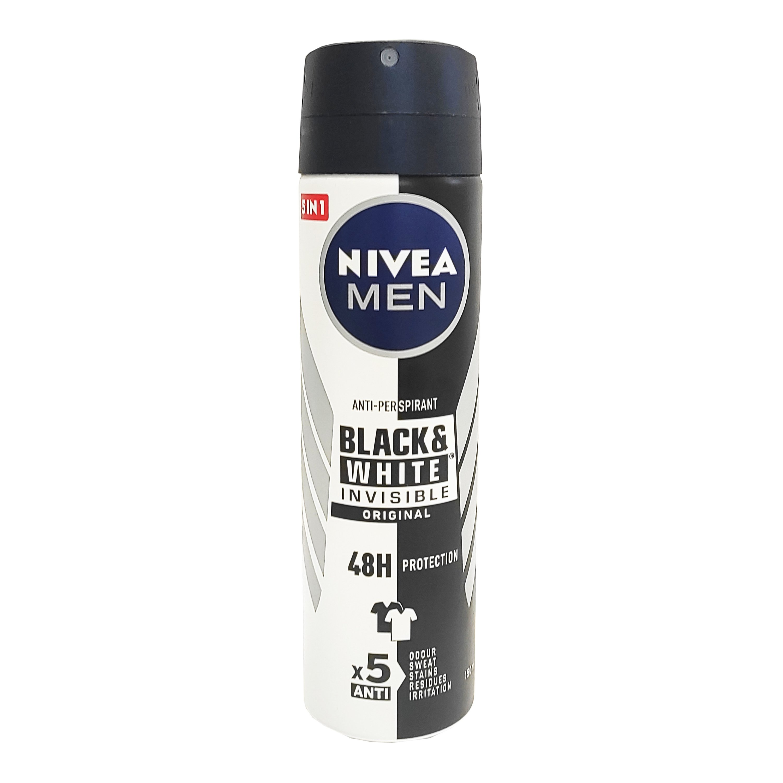 Nivea Men Invisible Black And White Original Anti-Perspirant Deodorant Spray Ανδρικό Αποσμητικό Κατά των Λευκών Σημαδιών 150ml