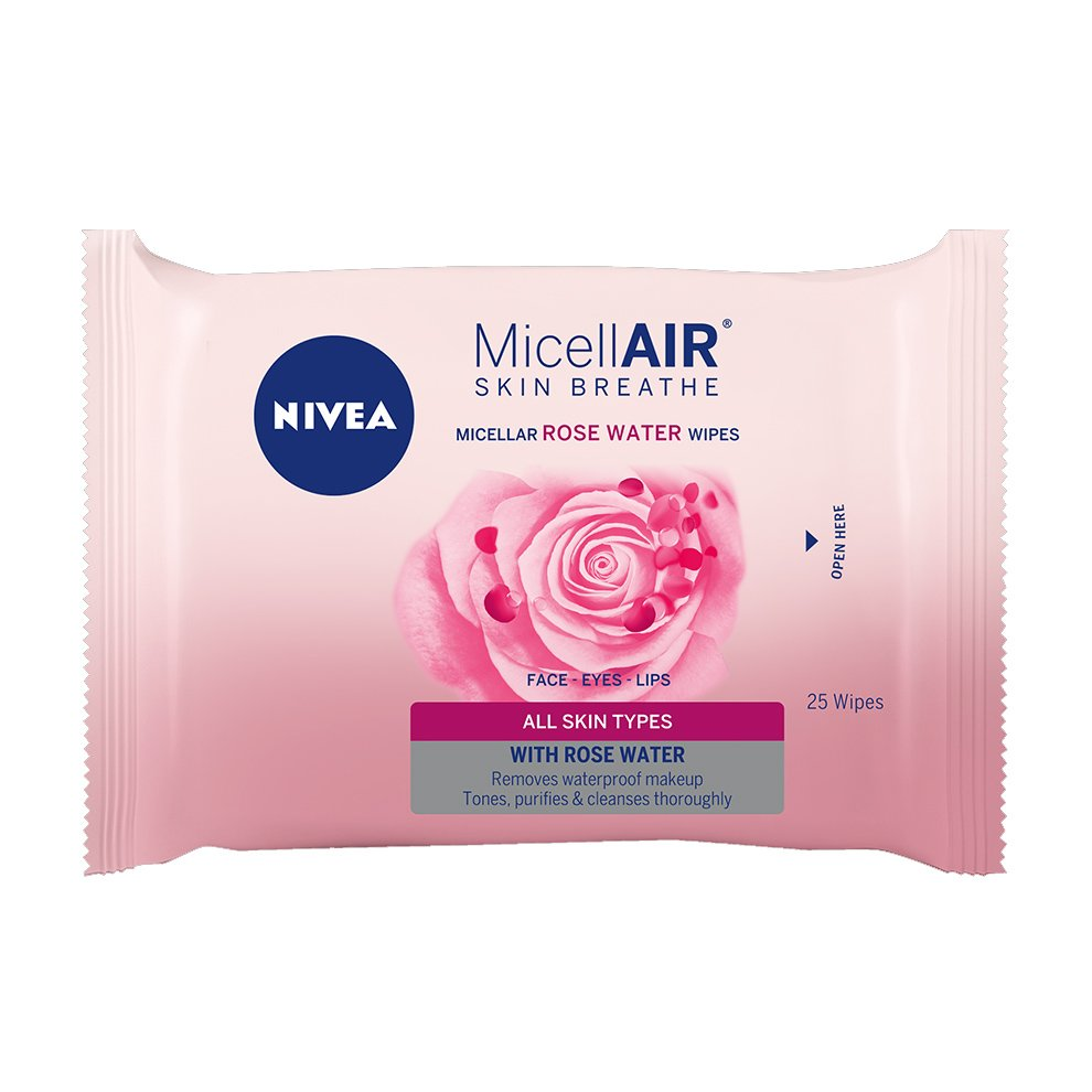 Nivea Micellair Cleansing Wipes with Rosewater Μαντηλάκια Καθαρισμού Προσώπου με Ροδόνερο για Καθαρισμό σε Βάθος 25 wipes